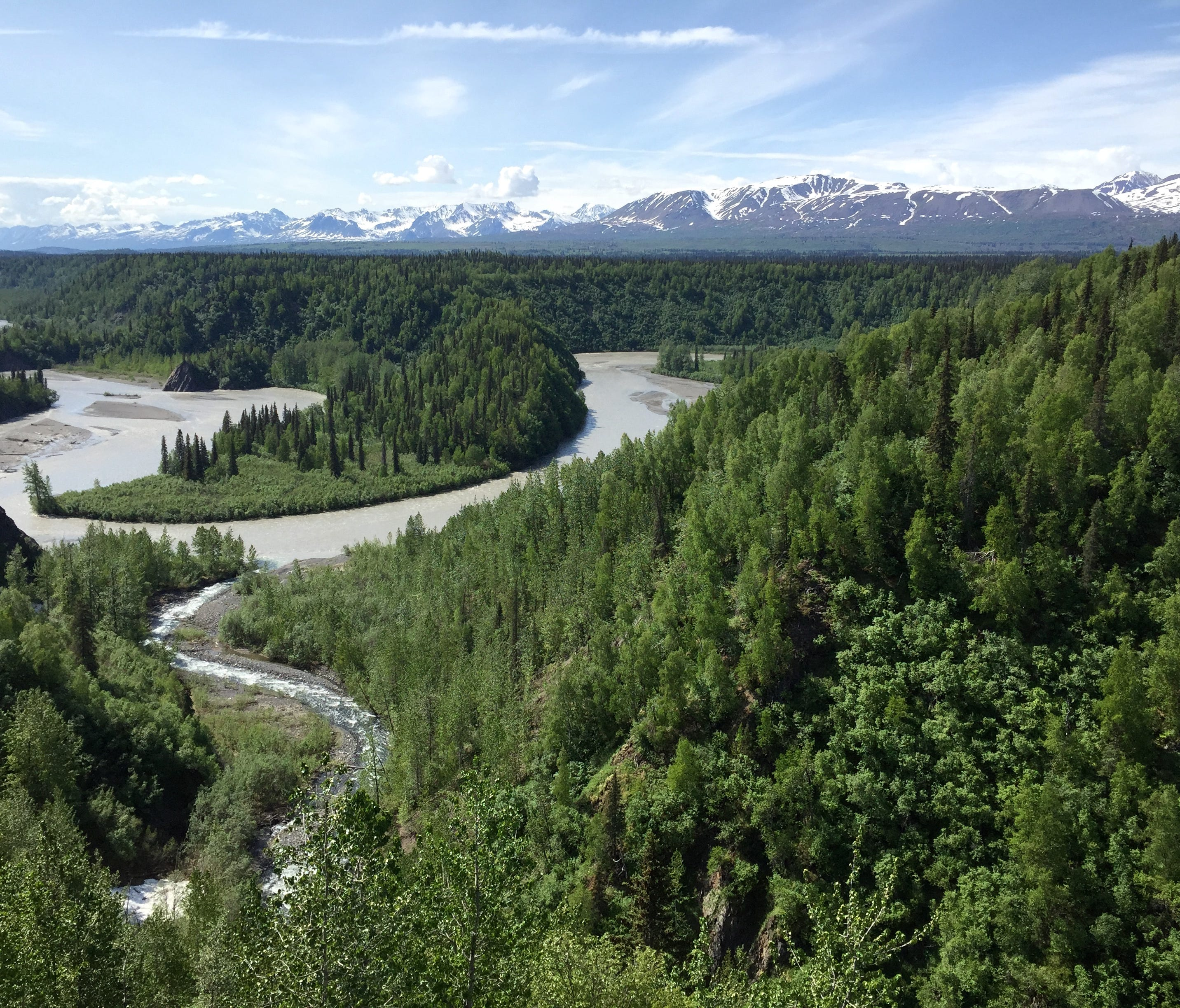 Views of the Alaskan landscape from the train on the way from Anchorage to Denali National Park. Credit