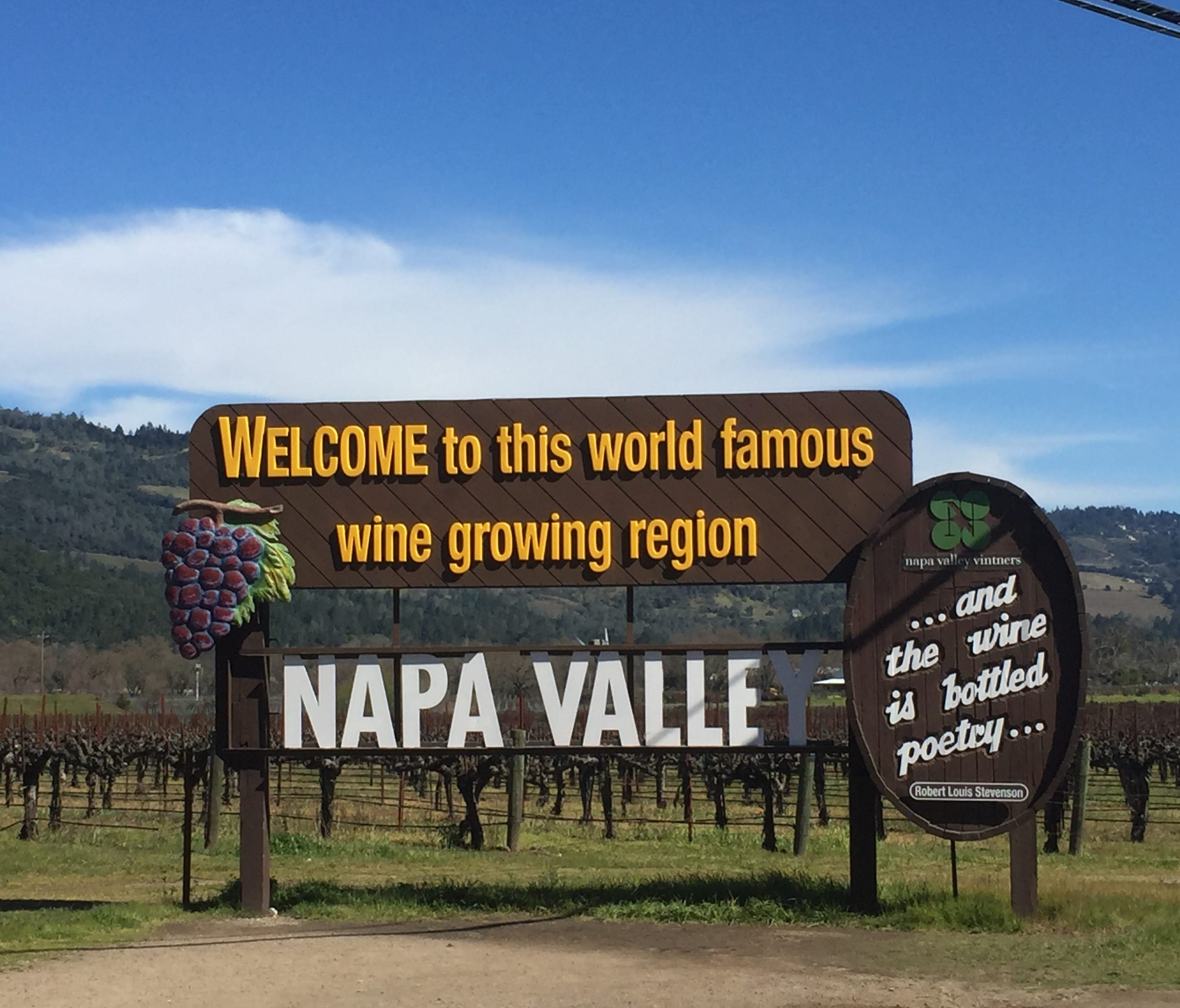 One of the famed Napa Valley signs greets visitors at the northern end of the valley. The overall damage to the wine industry in Napa and Sonoma County from the October 2017 wildfires ending up being relatively small.