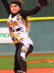 Alamogordo freshman Taylor Murphy prepares to throw a pitch Friday afternoon.
