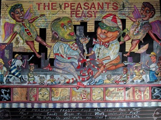 "Bruce Thayer's ""Peasants Feast"" is one of the 30 pieces"