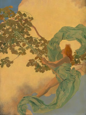 """Artist Maxfield Parrish's early work, like """"Girl on a Swing,"""" focused on idealized women often draped in flowing clothes."""