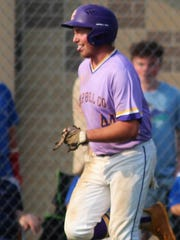 Campbell County's Noah Brewer nears home plate after hitting a home run in the first inning during the 10th Region baseball championship game featuring Montgomery County playing at Campbell County June 1, 2018, Alexandria KY. Campbell led 3-0 in the bottom of the second inning when the game was postponed by rain.