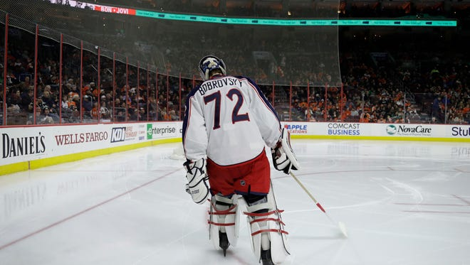 Columbus Blue Jackets' Sergei Bobrovsky in action during an NHL hockey game against the Philadelphia Flyers, Monday, March 13, 2017, in Philadelphia. (AP Photo/Matt Slocum)