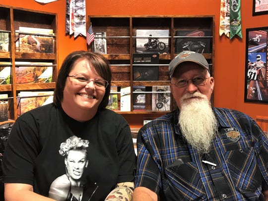 Accountant Christina Meffert, left, and General Manager Steve Hood are the two Kent's Harley-Davidson employees charged with the summer concert series Party on the Patio.