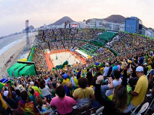 Fans filled the beach volleyball stadium during the