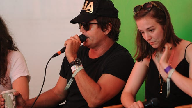 Stephan Jenkins of Third Eye Blind and  Margaret Glaspy speak about the shooting in Orlando, Fla., at a Sunday news conference at the Bonnaroo Music and Arts Festival in Manchester, Tenn.