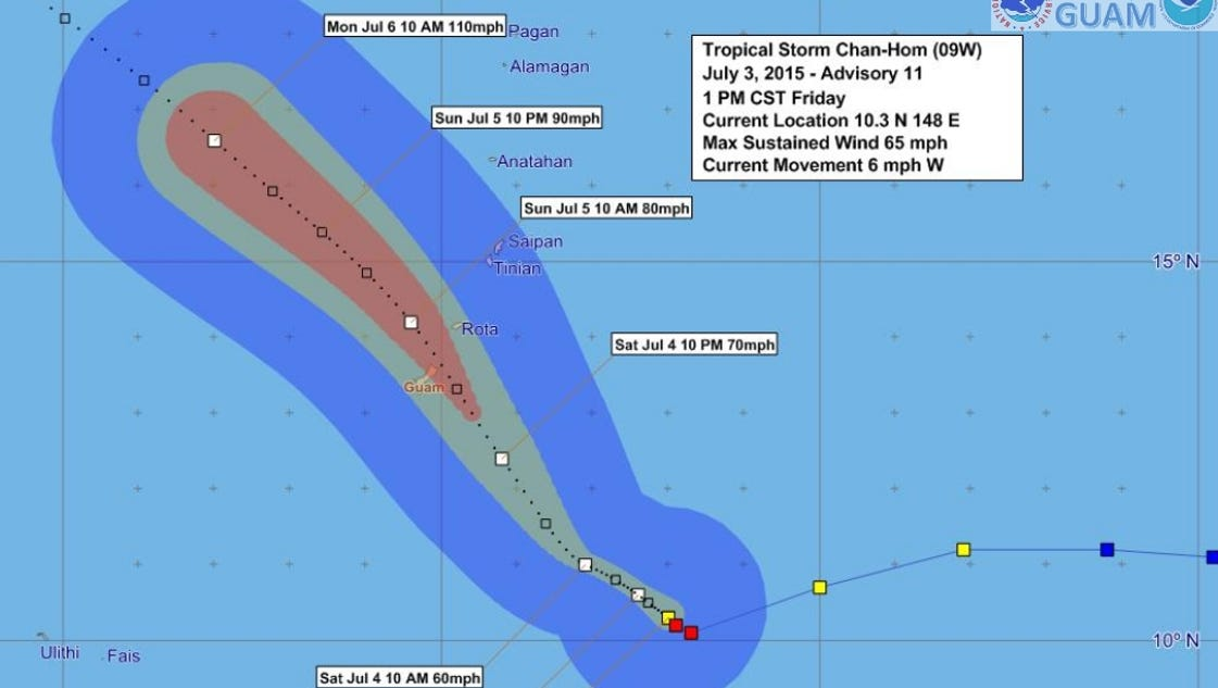 Forecast Chan Hom To Veer North Pass Near Tinian
