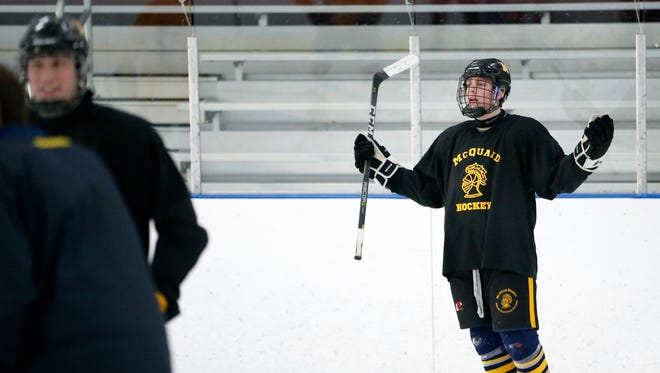 McQuaid senior James Merkley practices at Paul Louis Arena. Merkley is playing his senior hockey season with the high school team rather than the travel team in order to have fun with friends.
