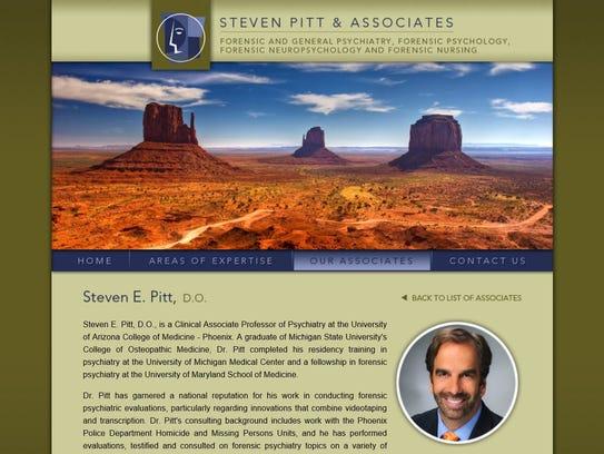 A screenshot of Steven Pitt's website. Phoenix police