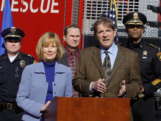 Sen. Alberta Darling (R-River Hills) and Rep. Jim Ott (R-Mequon) speak at a 2011 press conference announcing a bill to create stricter drunken driving laws. Both legislators continue to draft bills aimed at reducing drunken driving in Wisconsin.