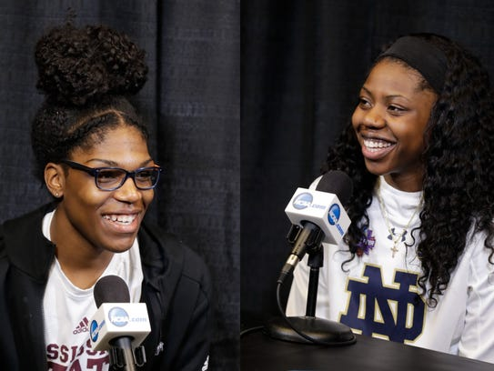 Mississippi State's Teaira McCowan, left, and Notre