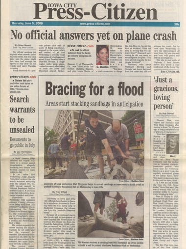 The front page of the Iowa City Press-Citizen on Thursday
