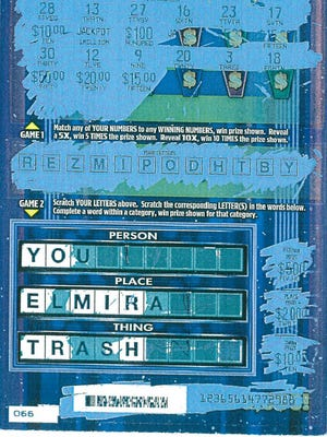 The Chemung County Sheriff's Office in New York determined that this is a legitimate New York State instant scratch-off lottery ticket and was not tampered with.