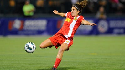 Midfielder Angela Salem, shown here playing for the Flash in 2013, is one of seven former WNY players on the Washington Spirit roster.