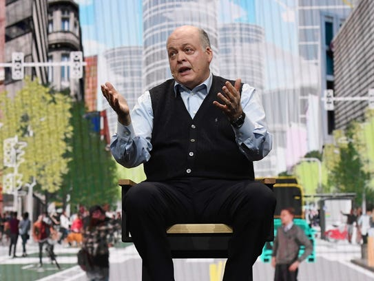 Ford Motor Co. President and CEO Jim Hackett delivers a keynote address at CES 2018 at The Venetian Las Vegas on Jan. 9, 2018.