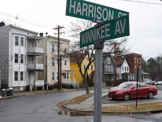 The intersection of Harrison Street and Winnikee Avenue in the City of Poughkeepsie.