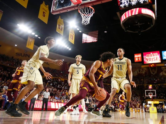 The wall in the upper deck at Wells Fargo Arena is visible in this court-level shot taken during a Dec. 17 game between ASU and Vanderbilt.