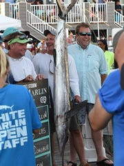"""A 70 inch, 86 pound White Marlin was caught by angler Mike Donahue from Wilmington, Del. aboard the boat """"Griffin"""" from Palm Beach, Fla. as Day 3 of the 44th Annual White Marlin Tournament in Ocean City brought in several White Marlin for the Leader Board as 2 days of fishing remain.Special to the Daily Times / Chuck Snyder"""