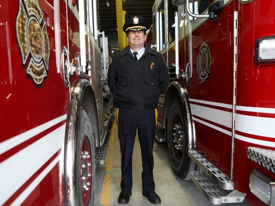 Kenneth R. Ehrenberg is the Paramus Chief of Police, as well as the Chief of the Paramus Fire Department.  He is shown here as he poses for a photograph at Paramus Fire House #4, Wednesday, January 3, 2018.