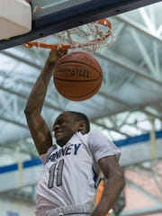 Ranney's Scottie Lewis gets out of the way of his own dunk during first half action. CBA vs Ranney School in Shore Conference Tournament Semifinal game in Toms River NJ on February 22, 2018.