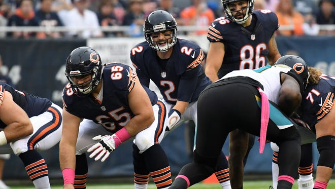 Bears quarterback Brian Hoyer (2) prepares a play against the Jacksonville Jaguars during the first half at Soldier Field.