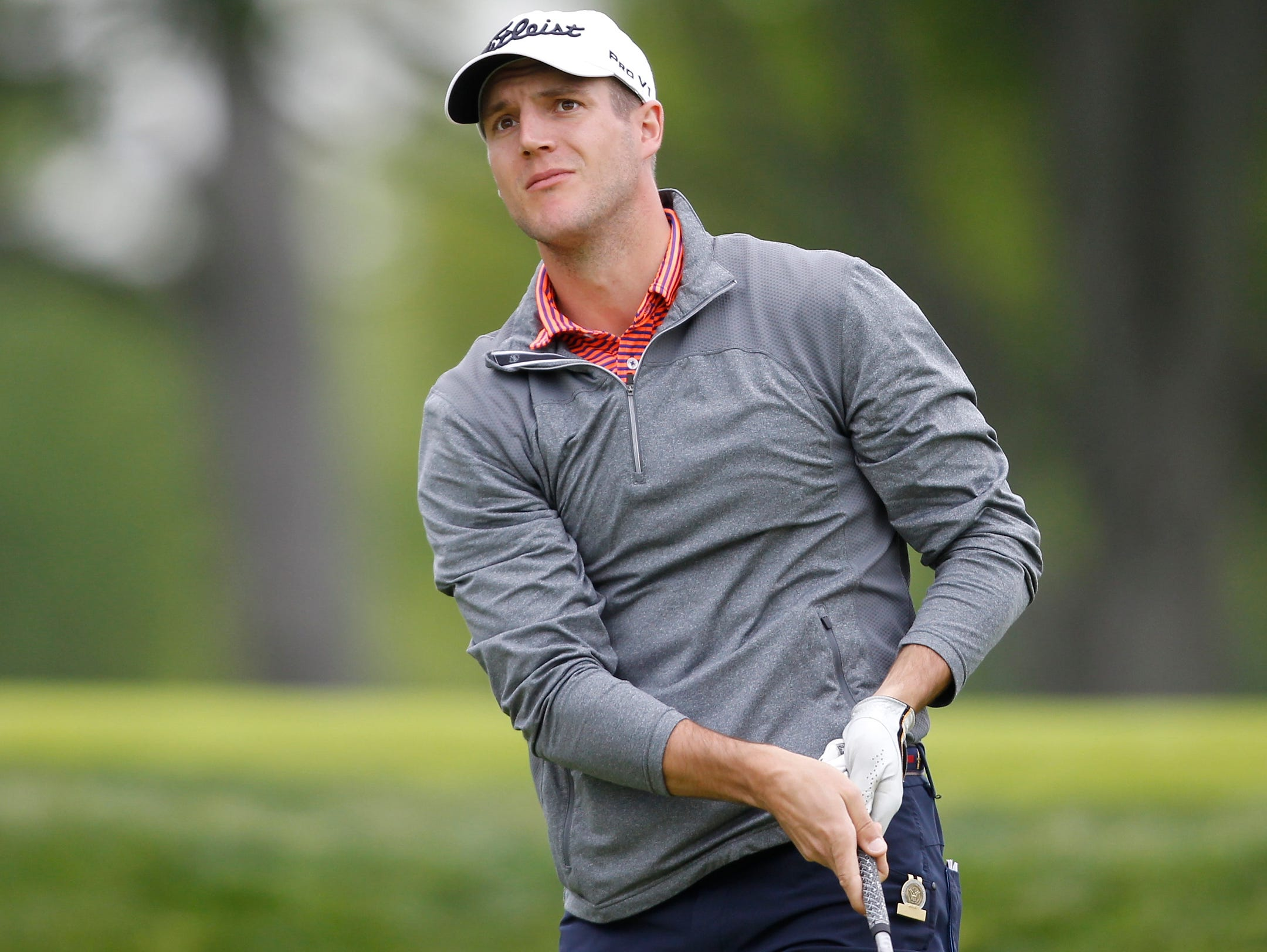 Garrett Rank from Canada hits his tee shot to the 9th hole at the first round of the 2016 U. S. Amateur Four-Ball Championship at Winged Foot Golf Club in Mamaroneck on Saturday, May 21, 2016.