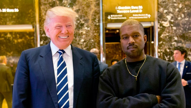 Donald Trump and Kanye West in New York in 2016.