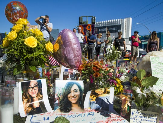 A memorial grows day by day in the center of Las Vegas