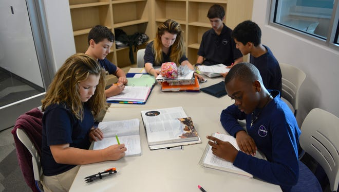 Students at Sussex Academy work during the school's Discover Your Potential program Thursday, Nov. 5.