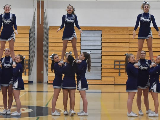 The Chambersburg Trojan Cheer Squad, pictured here