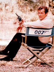 British actor Roger Moore, shown on location in England in 1972, played James Bond in seven films, more than any other actor.