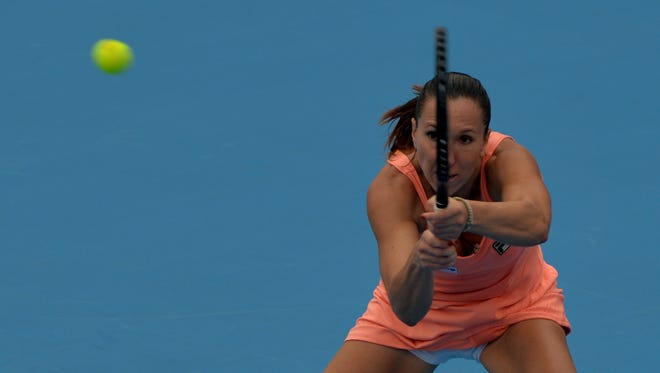 Jelena Jankovic of Serbia lines up a backhand shot during her victory against Anastasia Pavlyuchenkova of Russia.