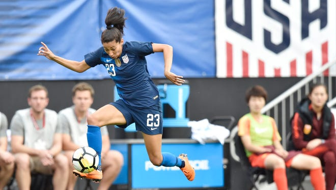 U.S. forward Christen Press (23) controls the ball in the first half against China during an international friendly women's soccer match at FirstEnergy Stadium in Cleveland on June 12.