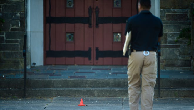 Montgomery Police investigate the shooting death of a 14-year-old Bellingrath Middle School student at St. James Missionary Baptist Church next to Bellingrath Middle School in Montgomery, Ala., on Monday, May 1, 2017.