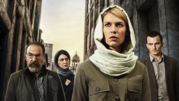 The post-Brody era of 'Homeland' begins Oct. 5. (From left: Mandy Patinkin, Nazanin Boniadi, Claire Danes and Rupert Friend)