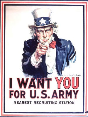 Uncle Sam on a U.S. Army recruiting poster.