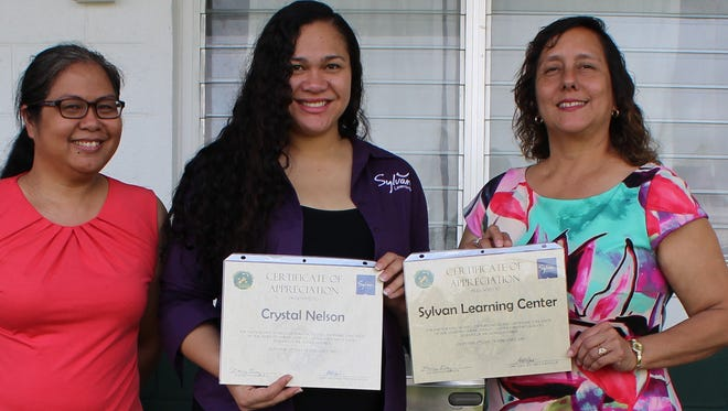 In support of the Positive Behavior Interventions and Supports program, Sylvan donated over 1,000 books to Guam's public elementary schools to promote literacy during January and February 2017. In recognition of their academic and behavioral achievements, Sylvan's Center Director, Crystal Nelson, donated 27 books to P.C. Lujan Elementary school students of the month in K-5th, Chamorro, ESL, and the resource programs and prize packages that included office goodies, stickers, pencils, and toys for the teacher and staff raffles, February 2nd. Pictured from left: Eimee Delgado (PBIS Facilitator), Crystal Nelson (Sylvan Learning Center Director), Nancy Diaz (Principal).