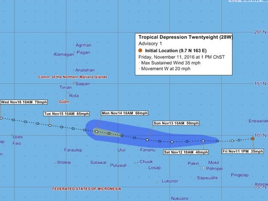 Tropical Depression 28 forecast tracking graphic issued on 1 p.m. Friday, Nov. 11.