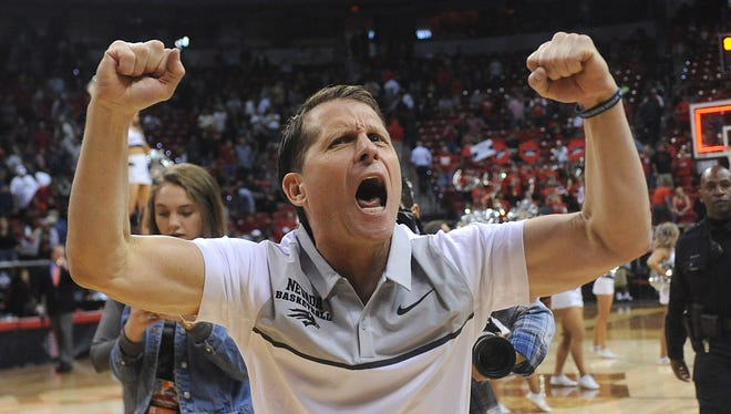Nevada head coach Eric Musselman reacts after defeating UNLV during the Mountain West Men's Basketball Championships at the Thomas & Mack Center in Las Vegas on March 8, 2018.