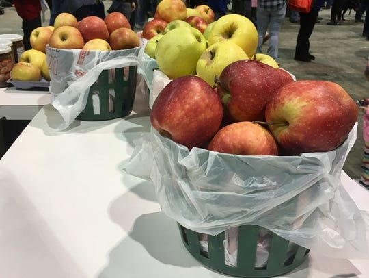 Different varieties of apples are only display at the
