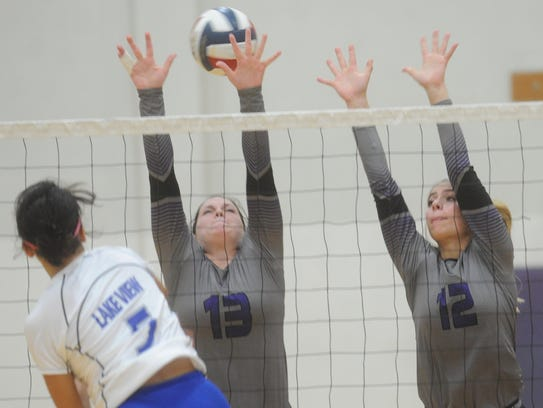 Wylie's Michaela Hill (13) and Madison Burden (12)
