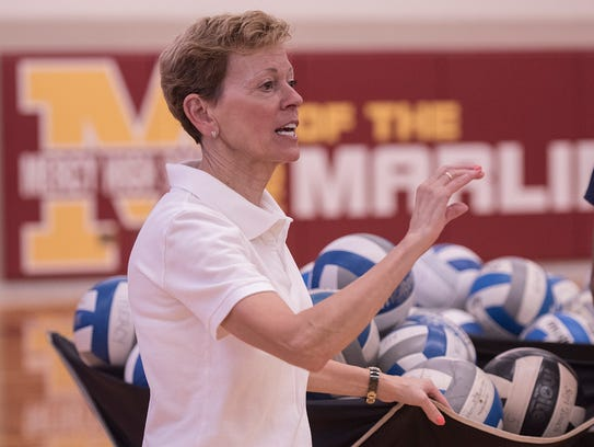 Loretta Vogel, in her ninth season as Mercy's volleyball