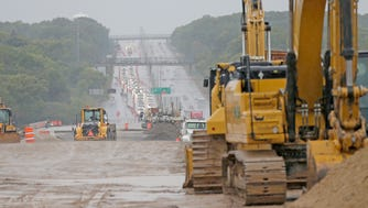 """Construction work is done near the """"zipper merge"""" on I-94 eastbound just west of Highway 100."""