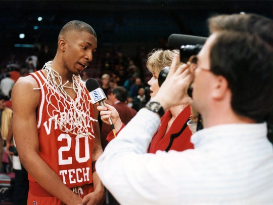 """Adrian """"Ace"""" Custis speaks to the media after his team wont the 1994-95 National Invitational Tournament."""