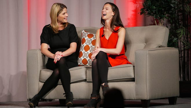 Former First Daughters Barbara Bush, right, and Jenna Bush Hager, talk in Omaha, Neb., on Oct. 29, 2014, during an appearance as feature speakers at the Girls Inc. fundraiser luncheon.