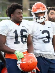 UTEP linebackers Alvin Jones, 16, and Dante Lovilotte,
