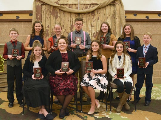 12 and Under  Youth honored at the WI Jr Holstein Convention include front row (from left) Ainsley Noble, Kenadee Weigel, Campbell Booth and Katie Brandel. Back row (from left) Christopher Gunst, Elizabeth Gunst, Cathryn Gunst, Payton Calvert, Gina Frisle, Kaydence Hodorff, and Dylan Ryan.