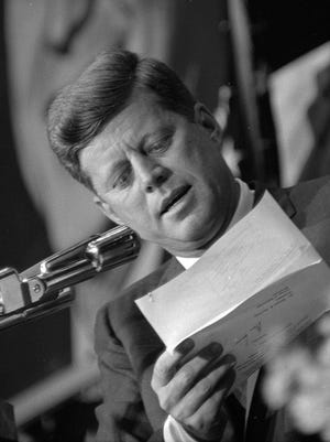 John F. Kennedy speaks at a fundraiser at the Milwaukee Arena on May 13, 1962.