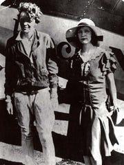 Amelia Earhart, left, and Vera Dawn Walker in Denver