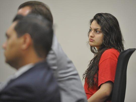 Chaylin Funez, 18, heard the evidence against her on